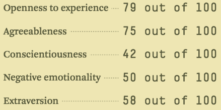 Openness to experience big five personality traits